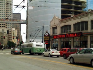 Old-style trolley bus on 3rd Ave. Taken last Sunday by reader Andy Fenstermacher.