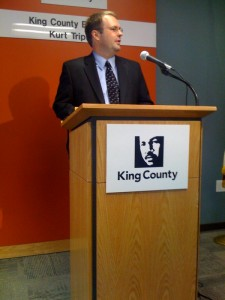 King Count Executive Kurt Kurt Triplett announcing Metro funding increases.