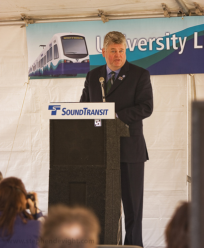 Mayor Nickels at U-Link Groundbreaking, by Steven de Vight