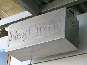 Next train sign at Tukwila station. Photo by Oran.