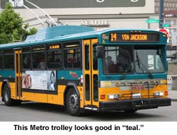 A Metro bus in teal. Provided by King County Metro.