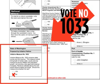 The No on I-1033 campaign points out where the initiative is located on the ballot.