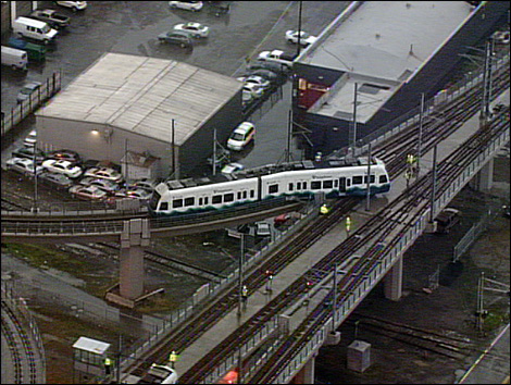 Picture of derailed Link train from KOMO.