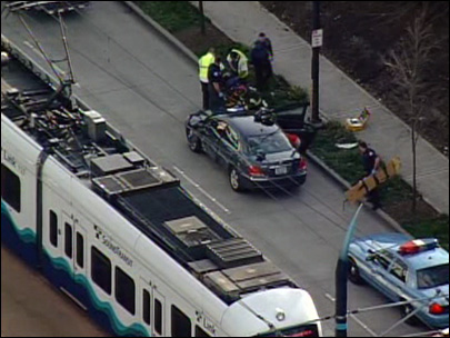 Train and car after the collision