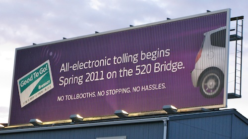 All-electronic tolling begins Spring 2011 on the 520 Bridge