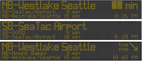 NB-Westlake Seattle xx min, SB-SeaTac/Airport 9 min, etc.
