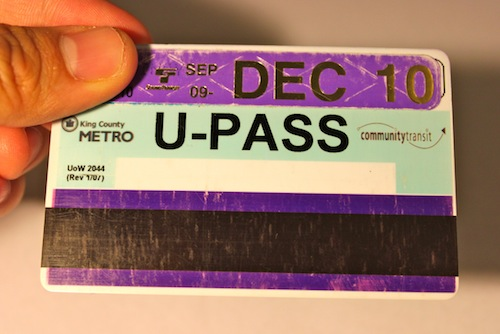 Back of a Husky Card affixed with a purple U-PASS sticker good for Autumn Quarter