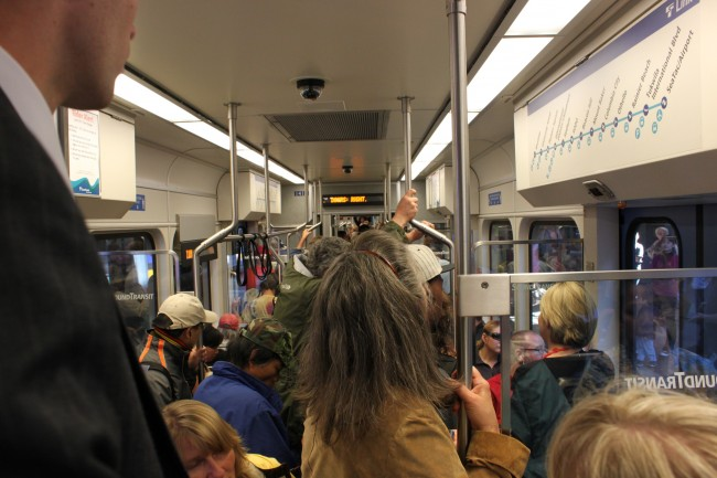 passengers crowded on a Link train