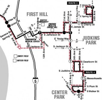 Map of south sections of Metro routes 3 & 4