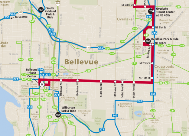 Metro's Frequent & All-day Eastside Transit Service Map