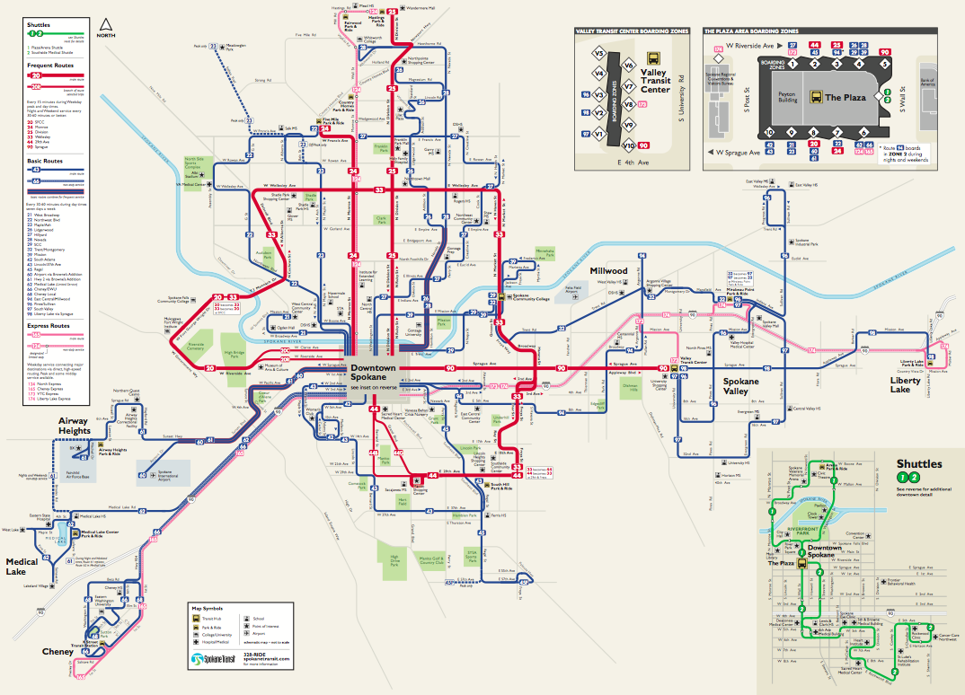 spokane's frequent transit map