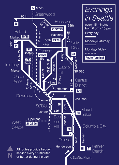 Map showing frequent bus routes operating until 10 pm