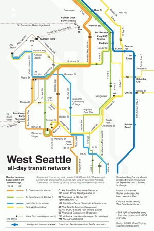 Schematic map of proposed 2012 service restructure in West Seattle