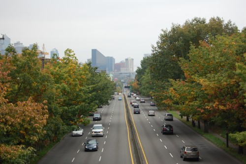 Downtown along Aurora, from the Galer St Bridge