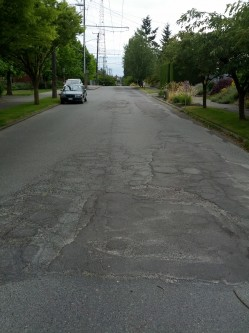 Pavement damage on Garfield St