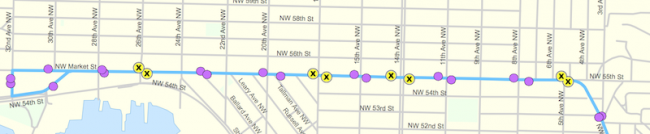 Bus stop consolidation in Ballard