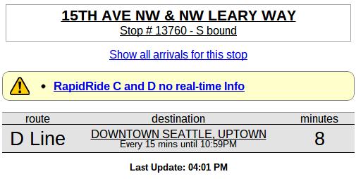 OneBusAway Alert for C/D Line
