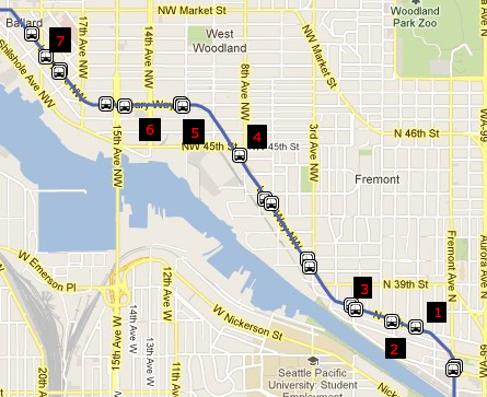 Map of stops on Leary