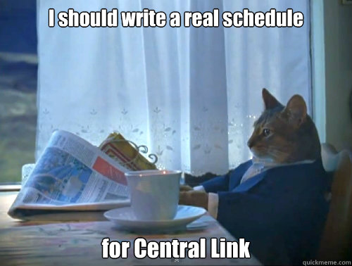 """Cat reading newspaper, captioned """"I should write a real schedule for Central Link"""""""