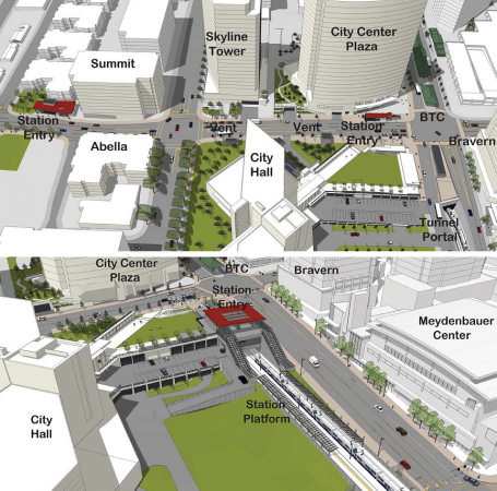 Downtown Bellevue: Optimized 110th Ave NE station (top), NE 6th station (bottom)