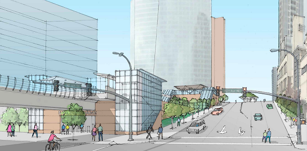 New concept sketch for the NE 6th downtown station
