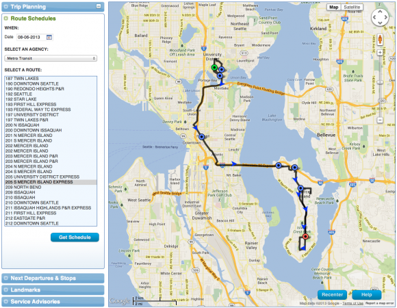 A route map accessed from within the trip planner