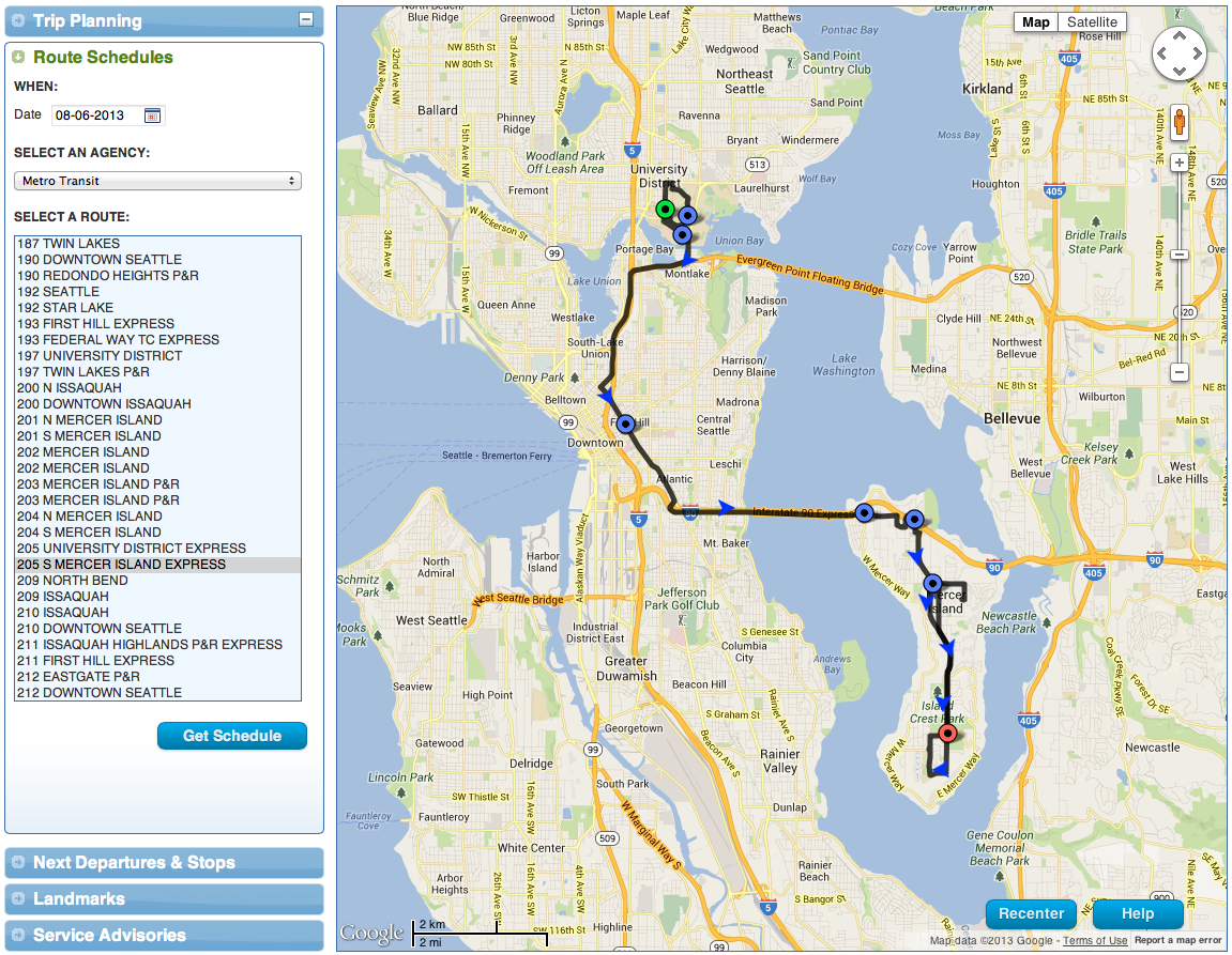 Metros New Beta Trip Planner Try It – Trip Route Map