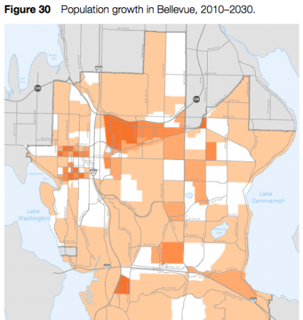 Map of forecast Bellevue population growth